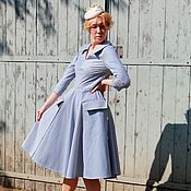 Одежда handmade. Livemaster - original item Dress in retro style stripe Italian cotton. Handmade.