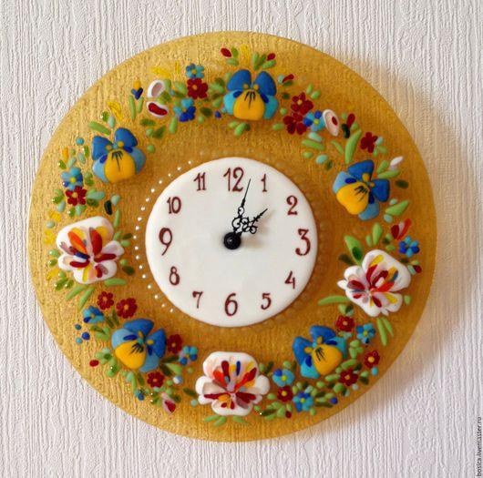 """Часы для дома ручной работы. Ярмарка Мастеров - ручная работа. Купить Часы """"Анютины глазки""""   фьюзинг. Handmade. Часы"""