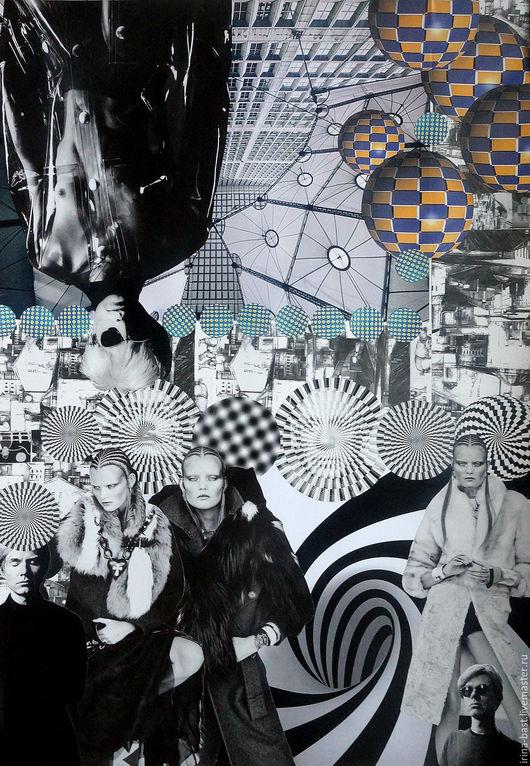картина, купить картину, коллаж, сюрреализм, Энди Уорхол, Пикассо, Сальвадор Дали, город, черно-белый, графика, символизм, магазин картин, интернет магазин картин