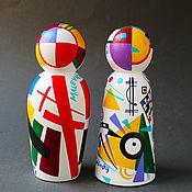 Для дома и интерьера handmade. Livemaster - original item Interior composition Wooden figurines Kandisnky-Malevich. Handmade.