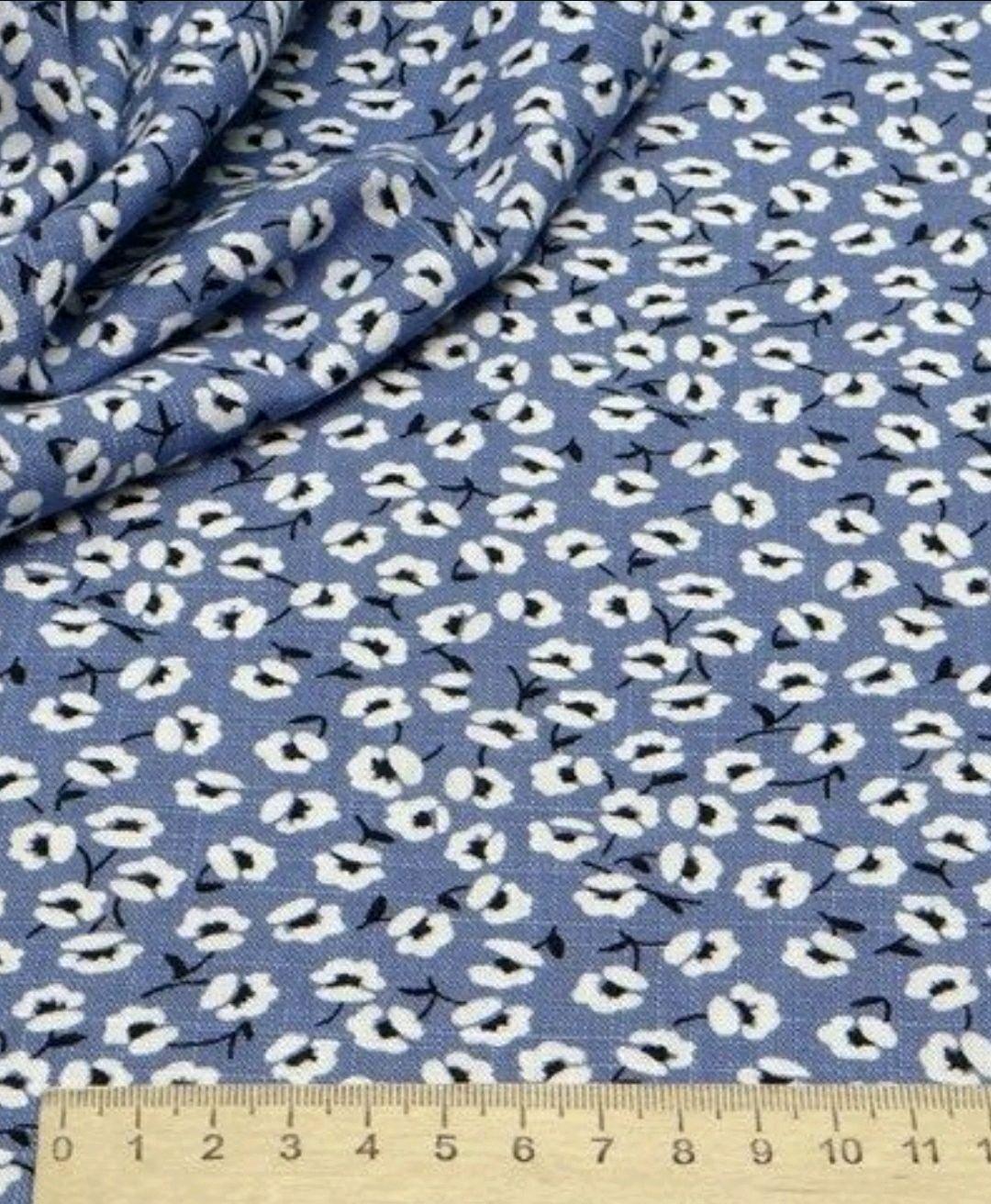 Ткань натуральная лён с вискозой  цветы АН 01, Ткани, Москва,  Фото №1