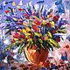 Картины цветов ручной работы. Ярмарка Мастеров - ручная работа. Купить Картина маслом Букет, 50х50 см.. Handmade. Разноцветный