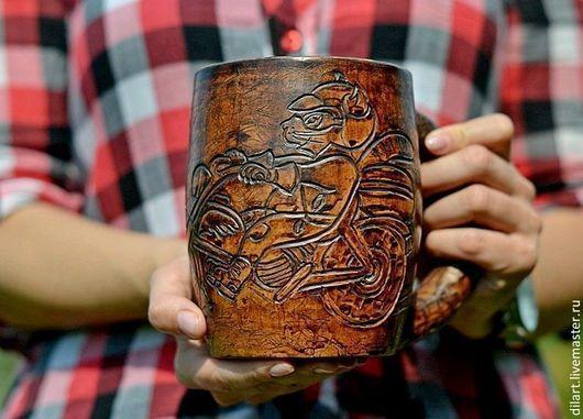 Кружки и чашки ручной работы. Ярмарка Мастеров - ручная работа. Купить Пивная кружка Беспечный Ездок подарок мужчине глиняная кружка. Handmade.