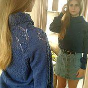 Одежда handmade. Livemaster - original item Sweater for women knitted from fine wool Openwork back. Handmade.