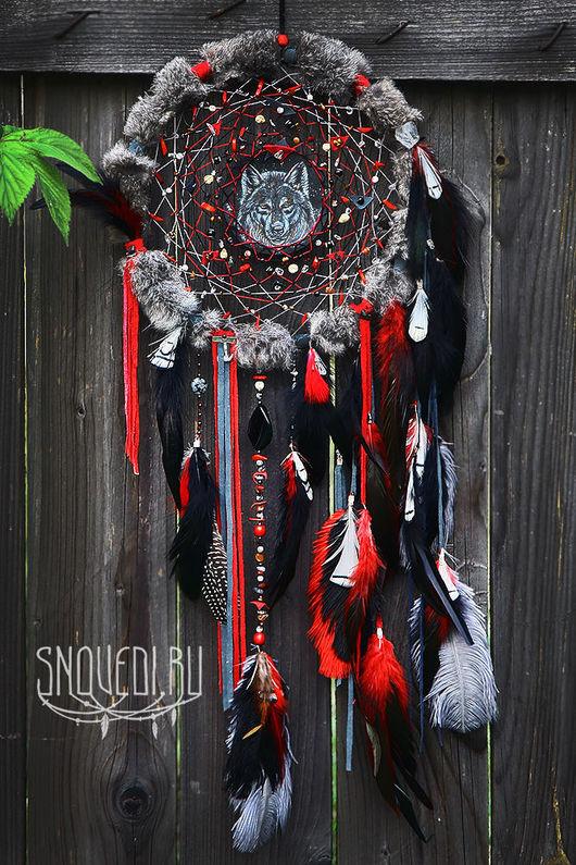 """Ловцы снов ручной работы. Ярмарка Мастеров - ручная работа. Купить Тотемный ловец снов """"Wolf tribe: faithful and intuition"""" РЕЗЕРВ!. Handmade."""