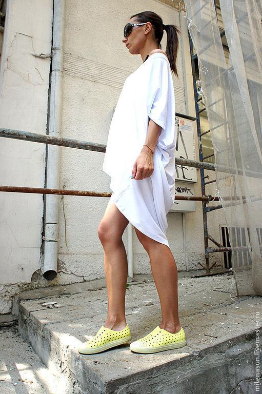 Кофты и свитера ручной работы. Ярмарка Мастеров - ручная работа. Купить Туника Asymmetric White. Handmade. Белый, трикотажная туника