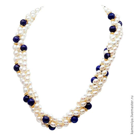 Колье, бусы ручной работы. Ярмарка Мастеров - ручная работа. Купить Ожерелье из жемчуга и лазурита. Handmade. Белый, жемчужный