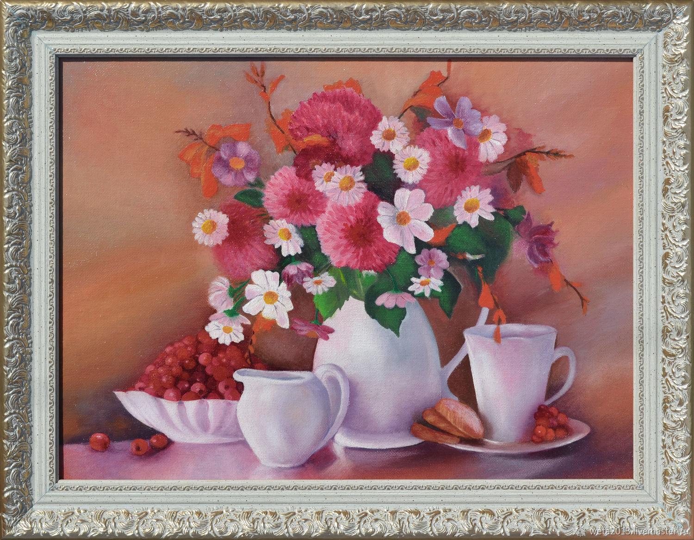 Натюрморт с цветами маслом на холсте. Цветы.Картина в раме, Картины, Борисоглебск,  Фото №1