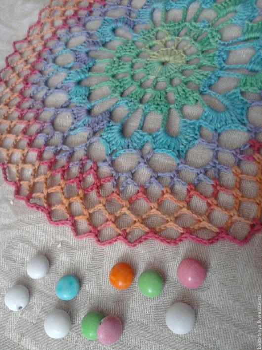 Текстиль, ковры ручной работы. Ярмарка Мастеров - ручная работа. Купить Салфетка Цветные переливы. Handmade. Комбинированный, салфетка крючком