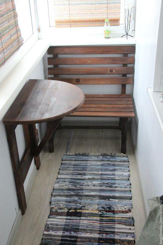 Мебель ручной работы. Ярмарка Мастеров - ручная работа. Купить Комплект для балкона. Handmade. Стол, лавка, балкон, сосна