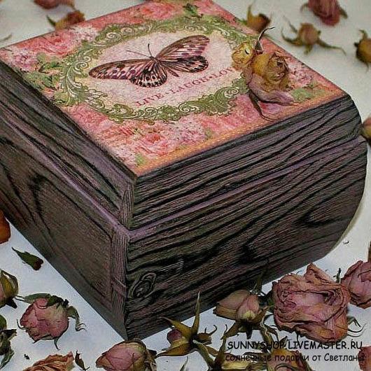 шкатулка декупаж ручной работы шкатулка деревянная подарок девушке  розовый романтика любовь бабочка шкатулка браширование брашировка Визун