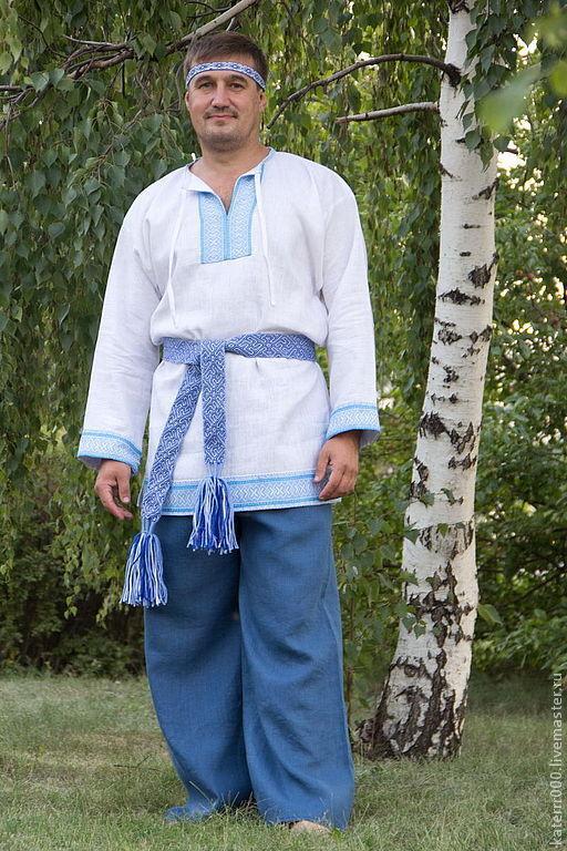 Одежда ручной работы. Ярмарка Мастеров - ручная работа. Купить Рубаха Этно бело-голубая. Handmade. Рубаха, лён