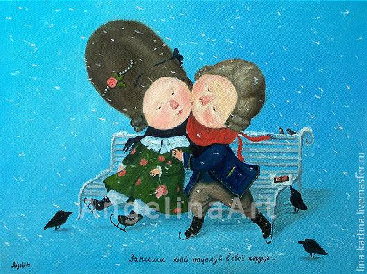 """Люди, ручной работы. Ярмарка Мастеров - ручная работа. Купить Картина женщине по Гапчинской """"Запиши мой поцелуй в свое сердце"""" копия. Handmade."""