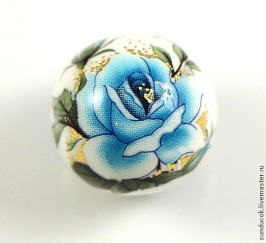 """Для украшений ручной работы. Ярмарка Мастеров - ручная работа. Купить 29-О/Р  Бусины Тенша """"Голубые розы на белом"""" 14 мм. Handmade."""