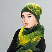 """Caps handmade. Livemaster - original item Комплект """"Мимоза"""" шаль, шапка и рукавички. Handmade."""