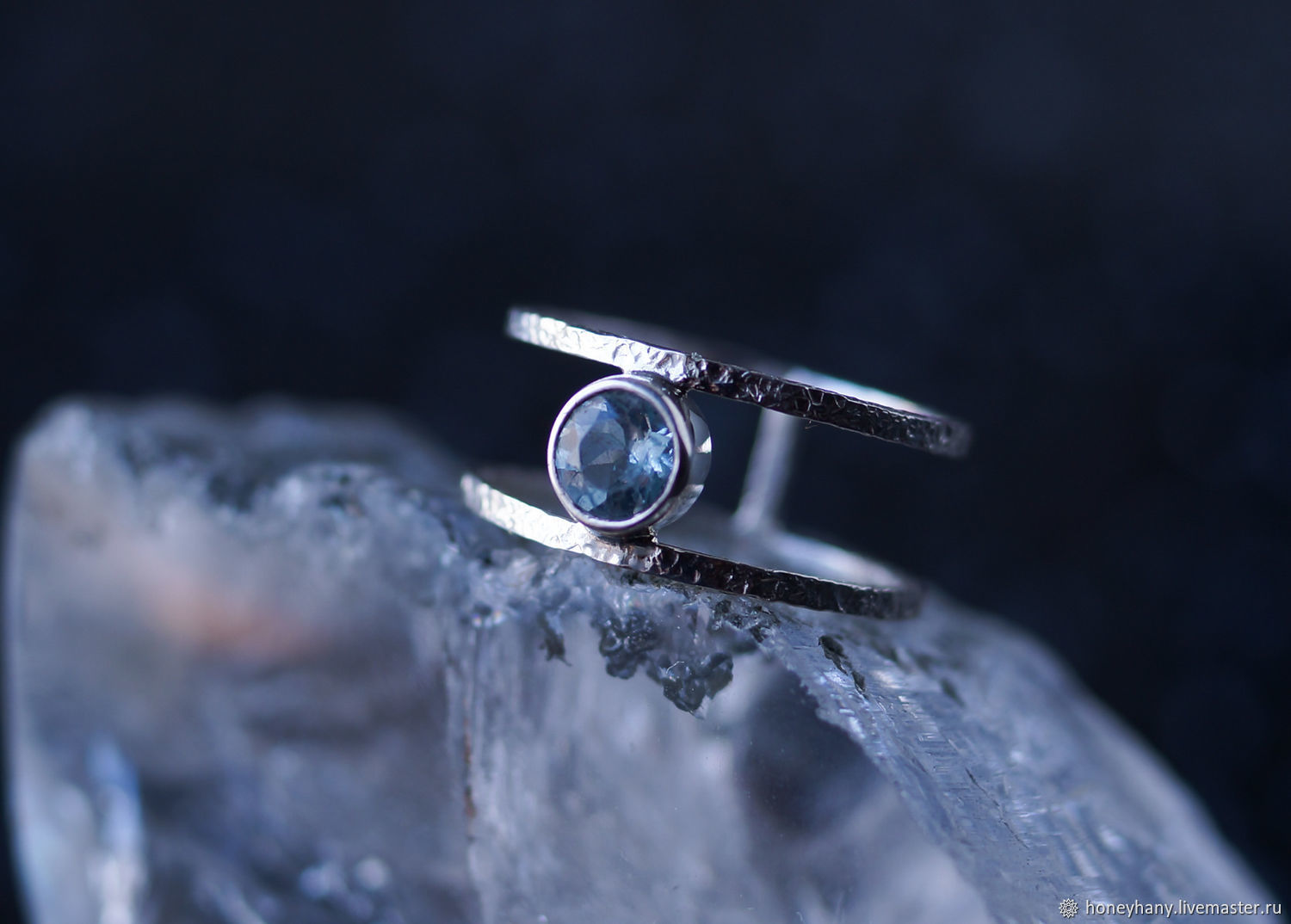Textured silver ring with sky Blue Topaz, Rings, Moscow,  Фото №1