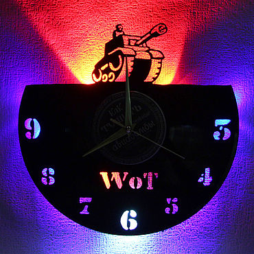 For home and interior handmade. Livemaster - original item Wall clock with LED backlight from vinyl record Tank. Handmade.