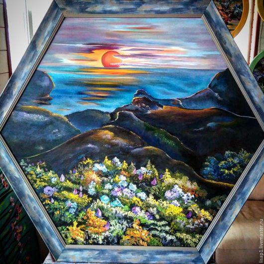 Пейзаж ручной работы. Ярмарка Мастеров - ручная работа. Купить Утомленное солнце. Handmade. Комбинированный, солнце, живопись пейзаж, колорит
