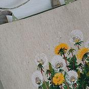Текстильная льняная сумка вышивка крестом Одуванчики