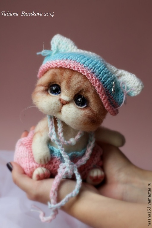 """Игрушки животные, ручной работы. Ярмарка Мастеров - ручная работа. Купить """"Мона"""". Handmade. Котенок, стеклянные глазки"""