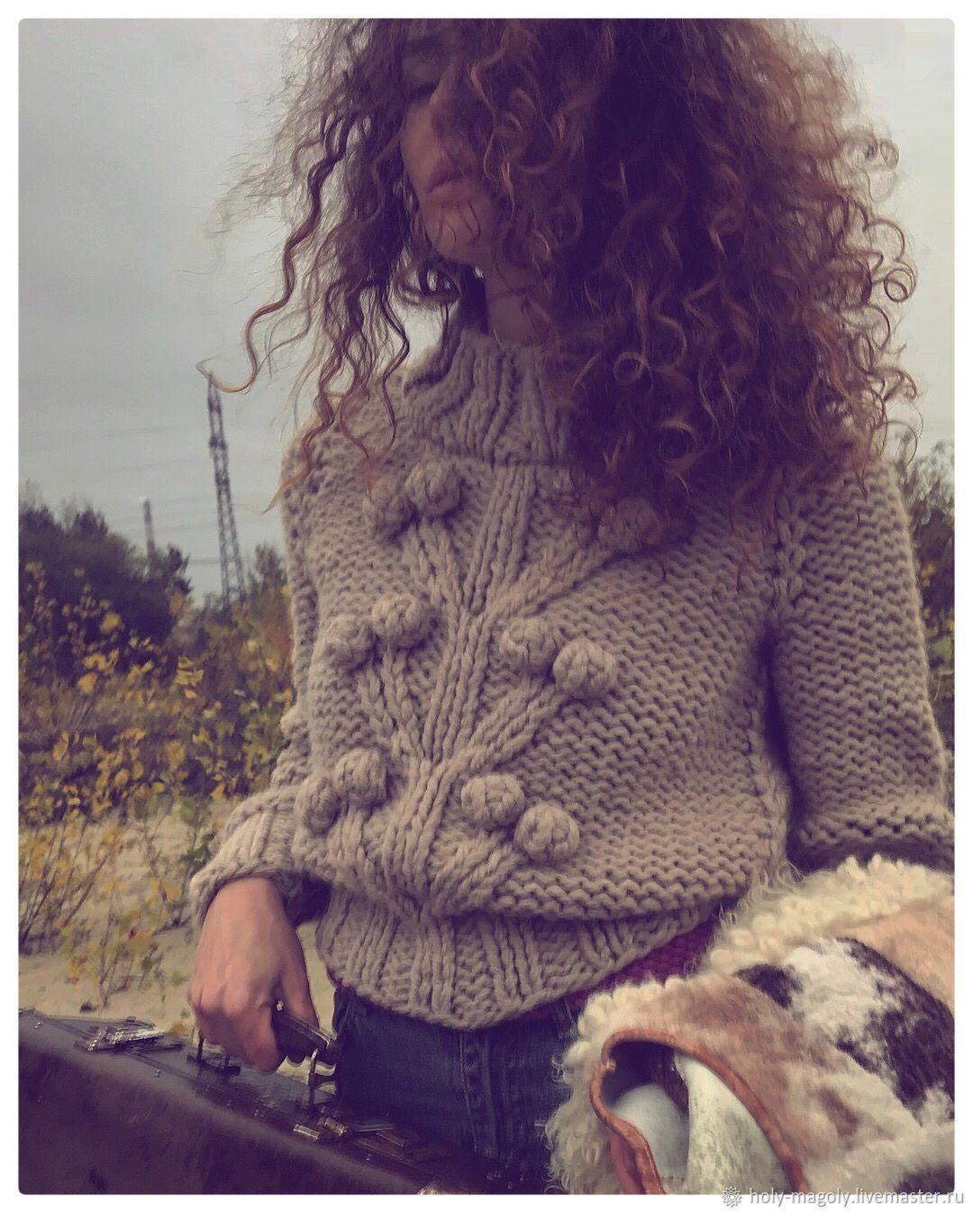 Свитер женский вязаный из толстой пряжи. Бежевый свитер с деревом, Свитеры, Киев,  Фото №1