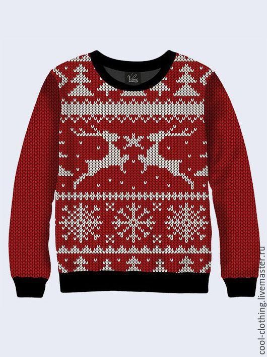 Кофты и свитера ручной работы. Ярмарка Мастеров - ручная работа. Купить Новогодний свитшот с оленями. Handmade. Рисунок, яркий свитшот