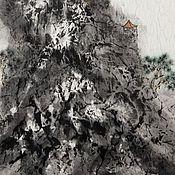 Картины и панно ручной работы. Ярмарка Мастеров - ручная работа картинаНа склоне горы(китайская живопись пейзаж абстракция графика ). Handmade.