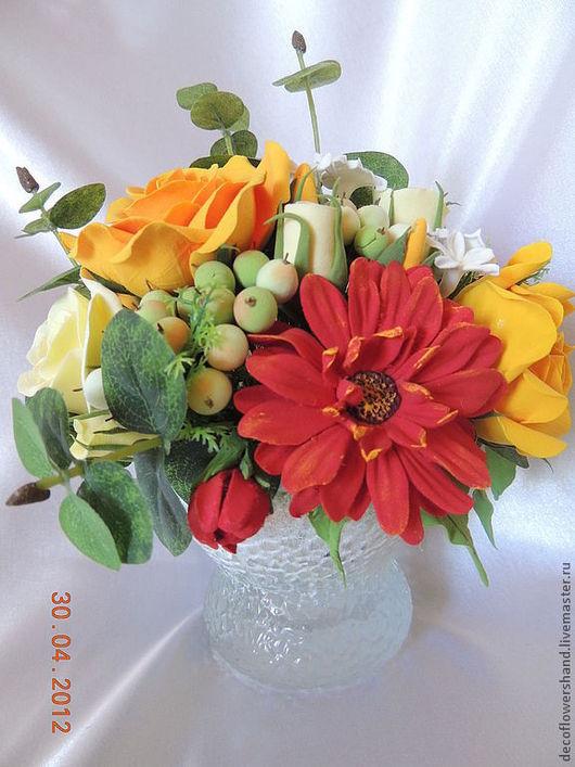 Цветы ручной работы. Ярмарка Мастеров - ручная работа. Купить Букет с желтыми розами. Handmade. Букет, женщине