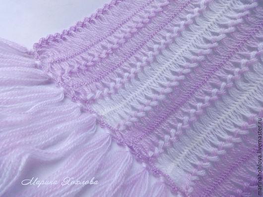 ажурный легкий бело-сиреневый шарф палантин Лиловый вязаный крючком на вилке
