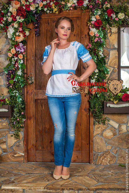 """Блузки ручной работы. Ярмарка Мастеров - ручная работа. Купить Блуза """"Чаровница"""" голубая. Handmade. Белый, блузка женская"""