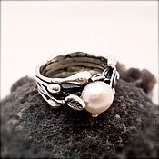 Украшения handmade. Livemaster - original item Ring Snow white natural pearls, silver. Handmade.