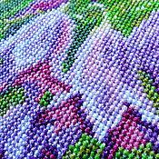 Картины и панно ручной работы. Ярмарка Мастеров - ручная работа Колокольчики, Полевые цветы, вышитая картина, лето, сиреневый, зеленый. Handmade.