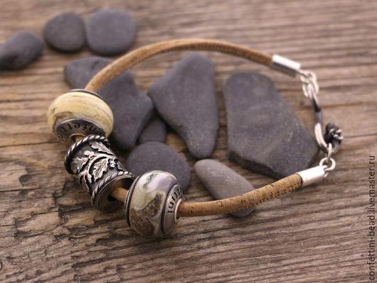 Браслеты ручной работы. Ярмарка Мастеров - ручная работа. Купить Пробковый браслет для бусин. Handmade. Бежевый, браслет для женщины