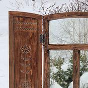 Для дома и интерьера ручной работы. Ярмарка Мастеров - ручная работа Зеркало-окно с резными ставнями. Handmade.