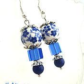 Украшения handmade. Livemaster - original item Earrings porcelain painted the Romance. Handmade.