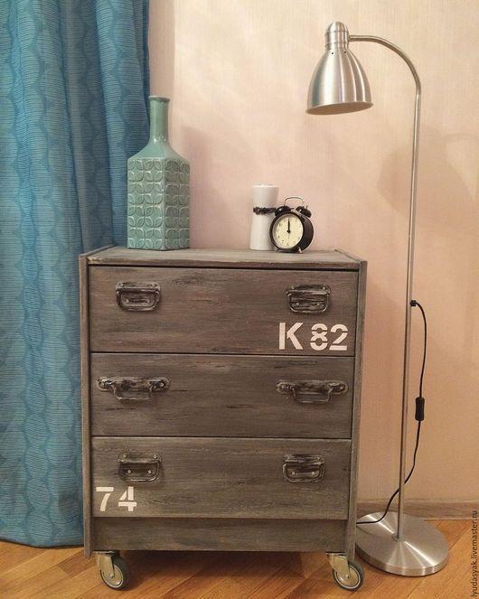 Мебель ручной работы. Ярмарка Мастеров - ручная работа. Купить Комод из массива сосны в стиле лофт на колесах. Handmade. Серый