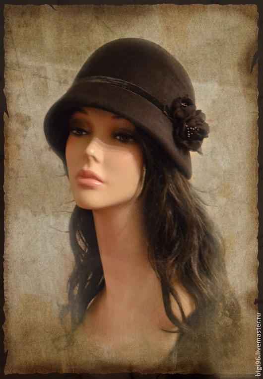 """Шляпы ручной работы. Ярмарка Мастеров - ручная работа. Купить Клош """"Горький шоколад"""". Handmade. Коричневый, чешский велюр"""