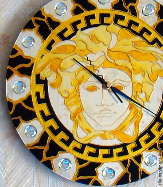Часы для дома ручной работы. Ярмарка Мастеров - ручная работа. Купить Часы настенные круглые зеркальные Версаче (Греция)черный с золотом. Handmade.