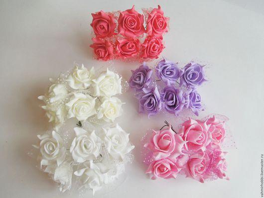 Другие виды рукоделия ручной работы. Ярмарка Мастеров - ручная работа. Купить Розы латексные с фатином 6 шт 3,5см. Handmade.
