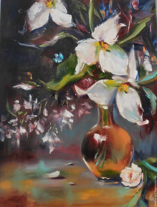 """Картины цветов ручной работы. Ярмарка Мастеров - ручная работа. Купить Картина маслом """"Натюрморт с цветами"""" 35х45 (цветы, подарок ). Handmade."""