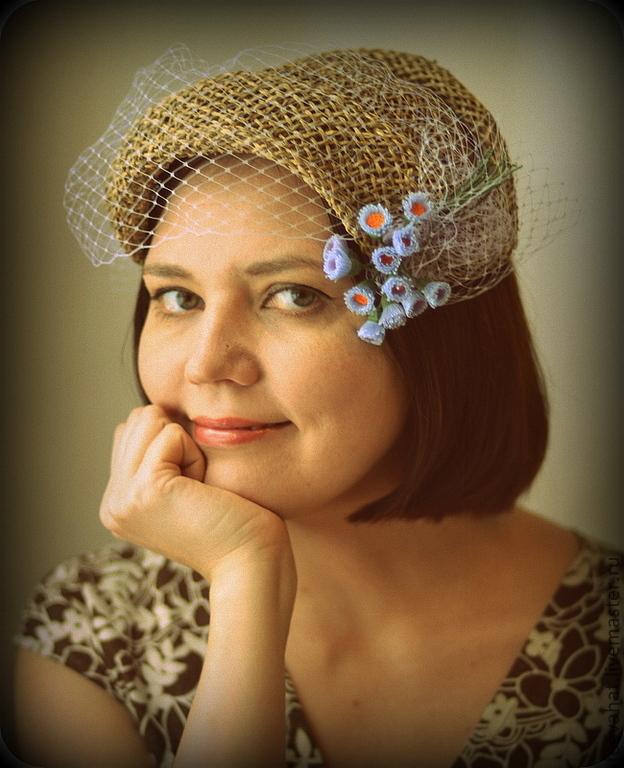 """соломенная шляпка накладка """"Клавдия"""", , Ногинск, Фото №1"""