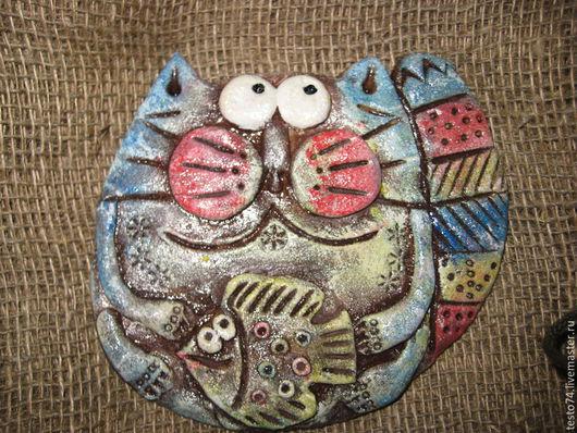 Статуэтки ручной работы. Ярмарка Мастеров - ручная работа. Купить Котик. Handmade. Бордовый, соленое тесто, панно, сувенир