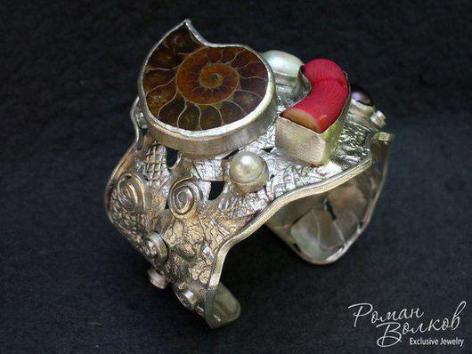 Браслеты ручной работы. Ярмарка Мастеров - ручная работа. Купить Серебряный браслет с камнями. Handmade. Комбинированный, браслет на руку