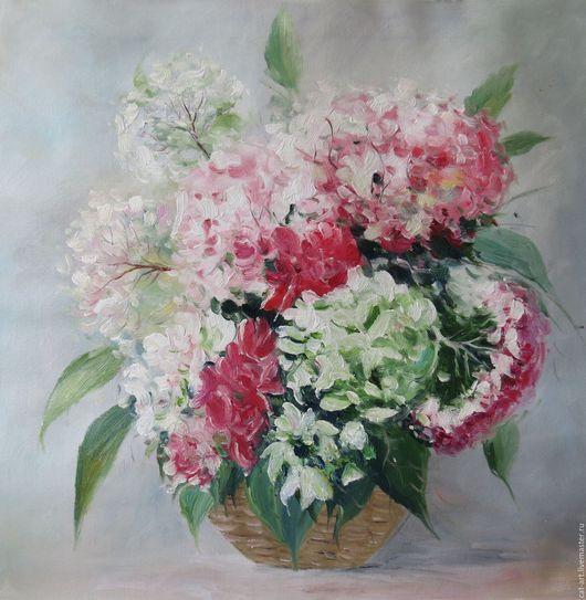 Картины цветов ручной работы. Ярмарка Мастеров - ручная работа. Купить Розовые Гортензии - картина маслом на холсте. Handmade.