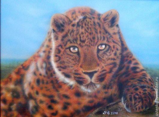Животные ручной работы. Ярмарка Мастеров - ручная работа. Купить Картина аэрография Леопард. Handmade. Коричневый, леопард, аэрография