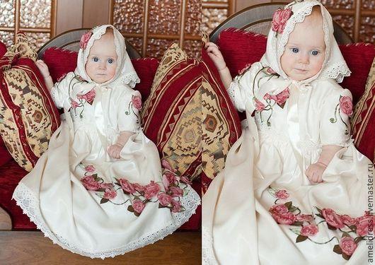 Крестильные принадлежности ручной работы. Ярмарка Мастеров - ручная работа. Купить крестильное платье. Handmade. Белый, крестильное платье, кружева