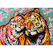 "Картины и панно handmade. Livemaster - original item Picture tigers ""Verry Good!"". Handmade."