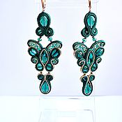 Украшения handmade. Livemaster - original item Soutache Butterfly earrings emerald small. Handmade.