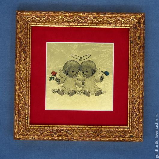 Подарки для влюбленных ручной работы. Ярмарка Мастеров - ручная работа. Купить Подарок для влюбленных. Картина из золота  Ангелы. Handmade. Подарок