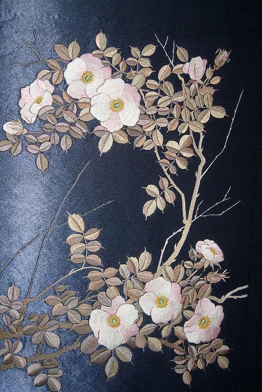 """Картины цветов ручной работы. Ярмарка Мастеров - ручная работа. Купить вышитая картина """"Лунный шиповник"""". Handmade. Гладь"""
